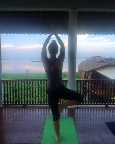 DOING YOGA AT KUMARAKOM LAKE RESORT
