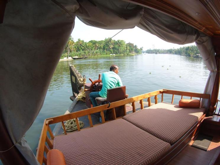 Sailing through the Backwaters on a comfortable houseboat