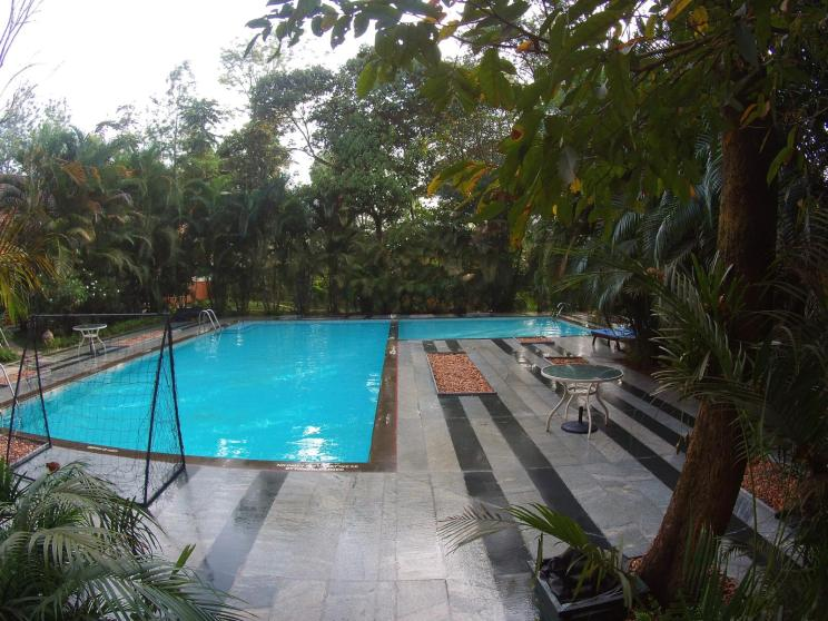 Best thing in the heat: The refreshing pool at Greenwoods in Thekkady