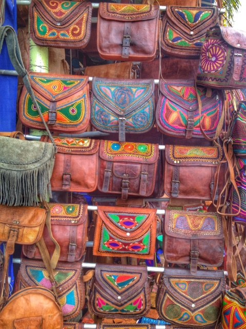 Leather goods for sale along the cliff walk.