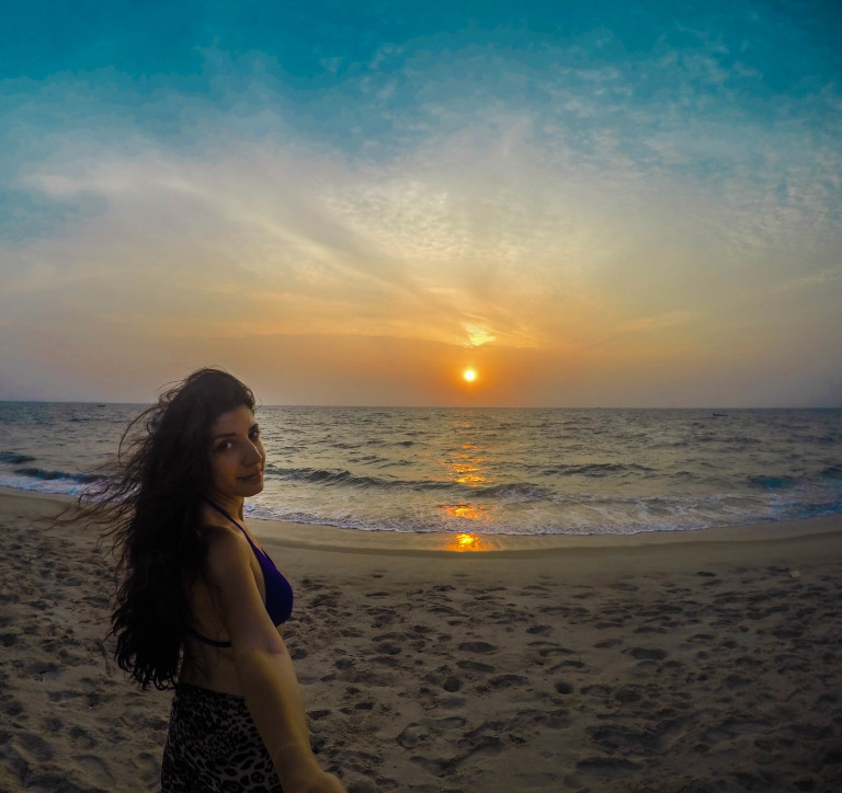 The sunset from the beach in front of the Xandari Pearl Hotel